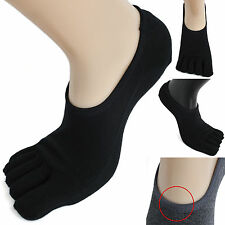 3 Pairs Mens Cotton Low Cut Toe Socks Ideal BLACK fivefingers Sneakers Shoes