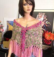Hand Knit Triangle Shawl Stole Wrap Scarf Designer Orig. Fashion Spring Summer
