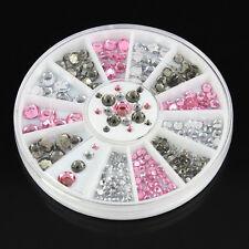 Vogue 3D Nail Art Tips gems Crystal Glitter AB Rhinestone DIY Decoration + Wheel