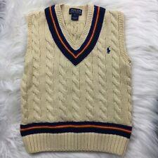Polo Ralph Lauren Sweater Vest Boys Size 5 Beige Cotton Cableknit Tennis Cricket