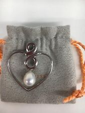 Iridesse Pearl INFINITY Heart Sterling Silver Pendant New. Tiffany & Co. #20