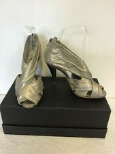 BRAND NEW DUNE PALE GOLD METALIC LEATHER PEEPTOE STRAPPY HEELS SIZE 4/37