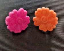 2 LPS Littlest Pet Shop Pink Orange Dog Cat FLOWER Collar Accessory Authentic