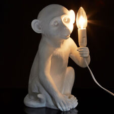 White Sitting Monkey Accent Table Lamp Candle Style Bulb Kids Ambient Lighting