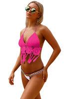 SPECIAL-WOMEN - Size S,M,XL LADIES  Rosy Crochet Bikini Top with Neoprene Bottom