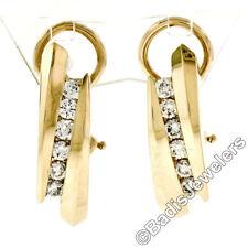 14K Yellow Gold .40ctw Channel Set Round Brilliant Diamond Huggie Omega Earrings