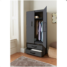 Deluxe Grey Double Canvas Clothes Shoes Wardrobe Storage With Opening Doors