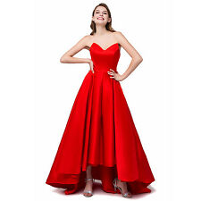 Red High Low Formal Evening Prom Gown Party Bridesmaid Dresses Stock Sz 6-16