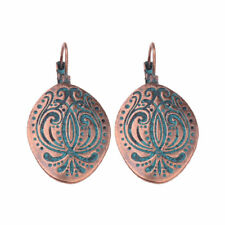 Vintage Bronze Carved Dangle Boho Ethnic Womens Tribel Gypsy Clip Earrings