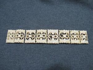 Vintage carved filigree flower bovine bone graduated beads for jewelry making