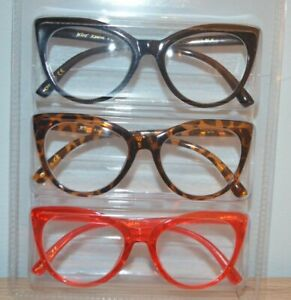 Betsey Johnson 3 Pair Large Cat Eye Readers Cheetah Blk Red  NIB