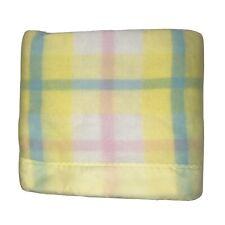 Vintage Waffle Weave Pastel Plaid Thermal Yellow Baby Blanket Rare HTF