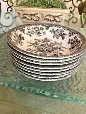 Royal Stafford Asiatic Pheasant Black Grey Salad Soup Bowls NWOT