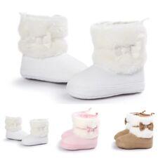 Newborn Kid Baby Girl Snow Shoes Winter Soft Sole Prewalker Crib Plush Boots.