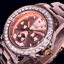 Gooix Multifunktion Damen Uhr Armbanduhr Rosegold Farben Edelstahl Strass 2