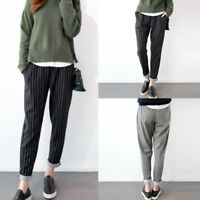 ZANZEA Women Casual Stripe Harem Pants Elastic Pockets Long Pants Trousers Plus