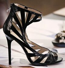Jimmy Choo For H&M Black Leather Caged Stiletto Sandals - Size UK 6