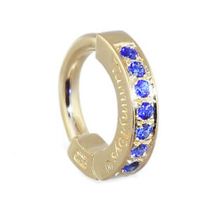 TummyToys 14K Yellow Gold Navel Ring - Pave Set with 7 Sapphires [TT-38020]