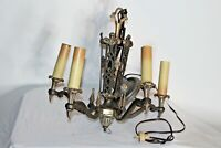Antique Art Deco 5 Light Chandelier Light Fixture Architectural Metal Chandelier