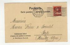 Suisse Helvetia 1 timbre sur carte postale 1919 tampon Zurich  /L412