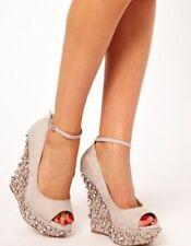 Carvela Embellish Wedge Heel Nude Cream Gold 7/40 Kurt Geiger Wedding Stud £190