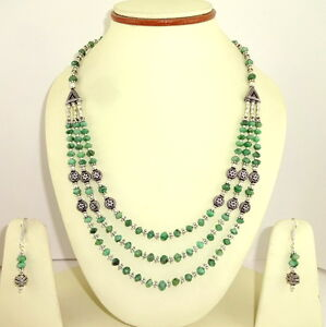 Necklace earrings natural green emerald gemstone beaded handmade jewelry