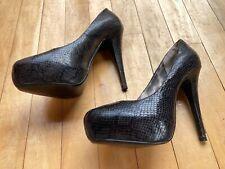 Barely worn Next size 4 black snake-skin effect high heels