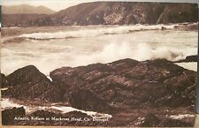 Irish Postcard ATLANTIC ROLLERS at Muckross Head Surf DONEGAL Ireland CTC Sepia