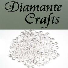 200 x 7mm White Pearl Round Loose Flat Back Rhinestone Vajazzle Body Gems