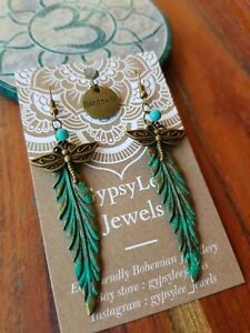 'Turquoise Dragonfly Feathers' Earrings GypsyLee Jewels Bronze