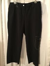 "Larry Lavine Women's Crop Pants Black Size 12 Petite Stretch Inseam 22"""