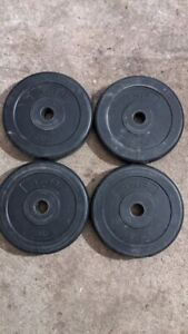 "4 x 2.5kg Black Weight Plates total 10kg for 1inch 1"" barbell or dumbbells (2)"