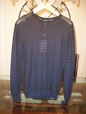 New ARMANI COLLEZIONI striped blue / brown crewneck sweater size 52 / M $375
