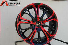 17 G Line 667 Wheels 4X100/114.3 Red Rims 4 Lug Civic Jetta Miata Xb Ek