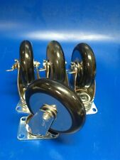 Set Of 4 New Metro Brand 5 Swivel Plate Caster With Brakes