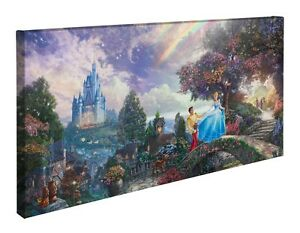 Thomas Kinkade Cinderella Wishes Upon a Dream 16 x 31 Wrapped Canvas Disney Wrap