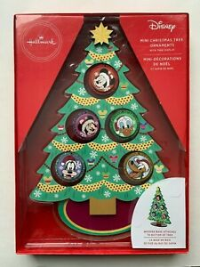 Hallmark Disney Wooden 5 Ornament  Set With Mini Christmas Tree Display