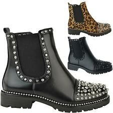 Ladies Womens Studded Flat Low Chelsea Ankle Boots Chunky Block Heels Shoes Size