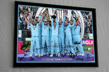 "ENGLAND WORLD CUP 2019  Cricket Framed Canvas Tribute Print Signed.""Great Gift"""