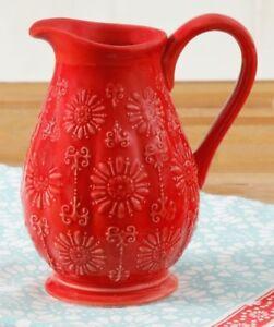 Pioneer Woman Mini Pitcher Red Floral Bursts 9.7 Oz Stoneware Creamer Vase Gift