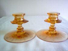 "Fostoria Vernon Amber 3.25"" Candle Holders Pair - MINT - NICE"