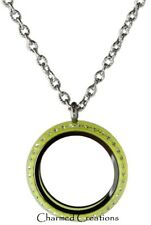 30mm Lime Green Acrylic Floating Charm Memory Locket Stainless Steel Necklace