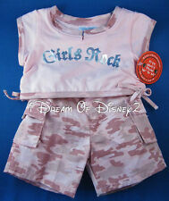 NEW! Build-A-Bear 'GIRLS ROCK' PINK TOP & CAMO CARGO PANTS Teddy Clothes Outfit