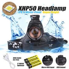 90000LM XHP50 Zoom LED Headlamp USB Rechargeable 18650 Headlight + 3*18650 Batt