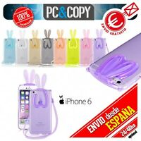 Funda TPU flexible transparente para iphone 6/6S. Bunny orejas conejo colores