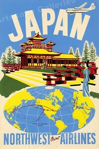 1930s Japan Northwest Orient Airlines Vintage Style Travel Poster - 24x36