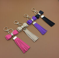 Leather Bowknot Tassel Crystal Pendant Bag Purse Key Chain Key Ring