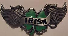 IRISH SHAMROCK WITH WINGS BELT BUCKLE - OVER 5 INCHES - NICE - NEW IRELAND