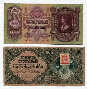 Set of 2 Hungary Inflation Banknotes 100(1930) + 100(1945) Pengo Paper Money