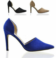 Ladies Womens High Heel Side Cut Sexy Court Shoes Pointed Toe Mid Suede Size